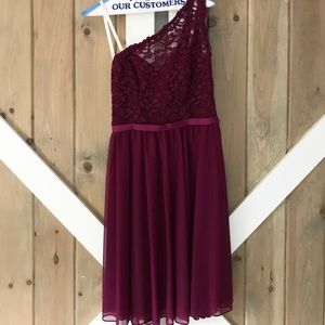 Short One Shoulder Corded Lace Dress